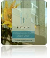 Recommended retailer sticker, platinum guild, platinum jeweller