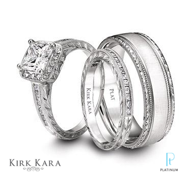 description kirk kara platinum and diamond - Platinum Wedding Ring Sets