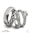 Martin Flyer Platinum Diamond Wedding Rings Set